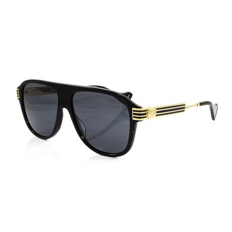 Men's GG0587S Sunglasses // Black + Gold