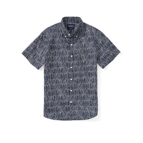 Short Sleeve Shirt // Navy Leaf (S)