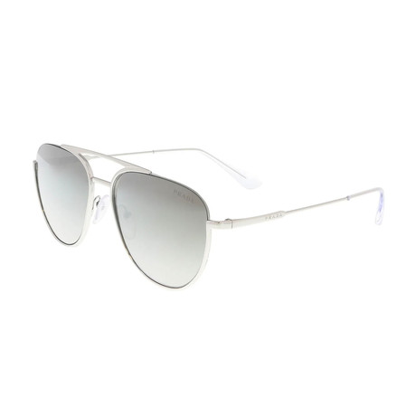 Prada // Men's Half-Rim Pilot Sunglasses // Silver + Gray Mirror