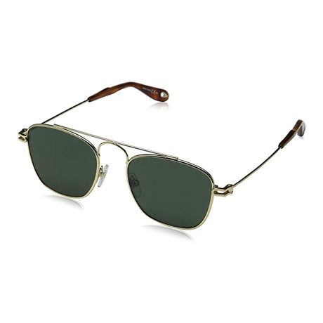 Givenchy // Men's Rectangle Aviator Sunglasses // Gold + Green