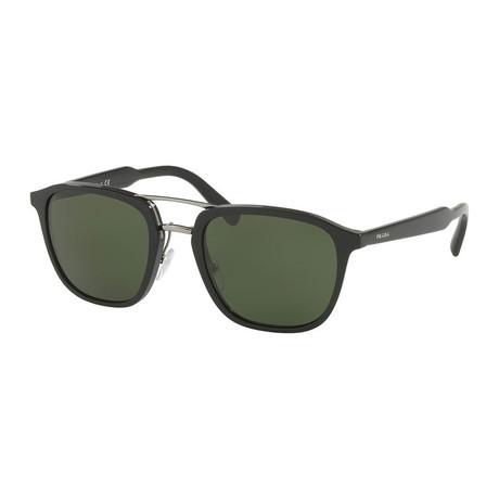Prada // Men's Square Aviator Sunglasses // Black + Green