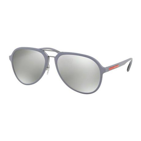 Prada // Men's Aviator Sunglasses // Gray + Gray Mirror