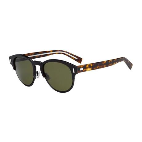 Men's Black Tie Classic Round Sunglasses // Havana + Black + Green