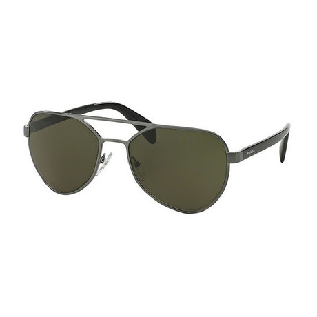 Prada // Men's Aviator Sunglasses // Gunmetal + Green