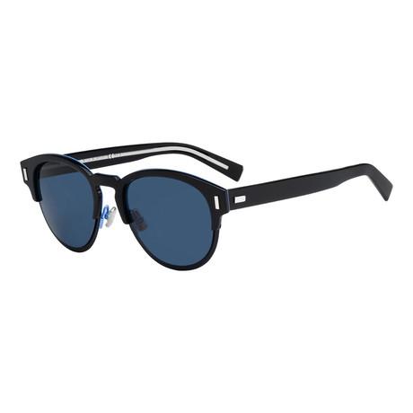Men's Black Tie Classic Round Sunglasses // Black + Blue