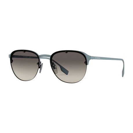 Burberry // Men's Half-Rim Round Sunglasses // Blue Havana + Gray