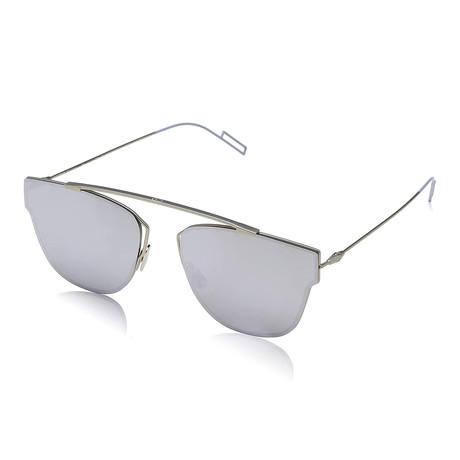 Men's Top Bar Rimless Looking // Silver + Silver Mirror