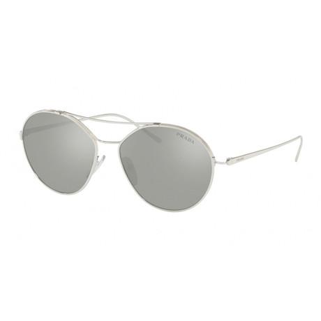 Prada // Men's 56US Sunglasses // Silver + Silver Mirror