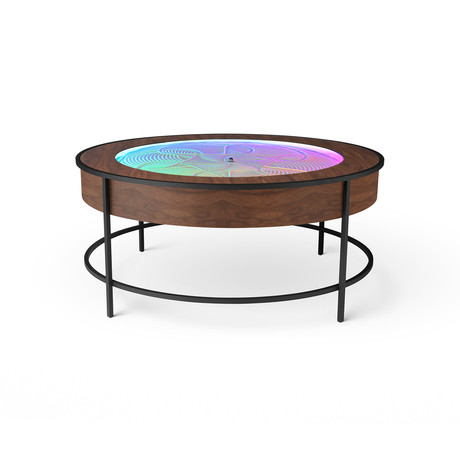Black Metal Coffee Table // Wood Veneer (Walnut Veneer)