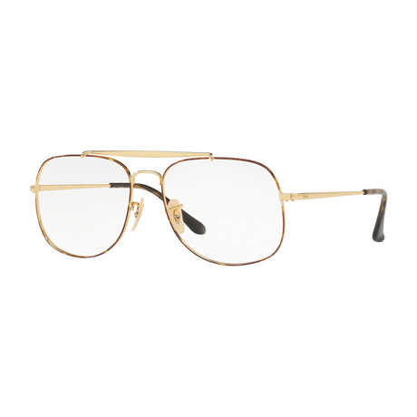 Ray-Ban // Men's 0RX6389 Square Optical Frames // Tortoise + Gold