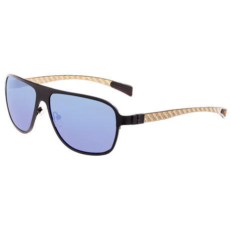 Atmosphere Polarized Sunglasses // Titanium (Black Frame + Blue Lens)