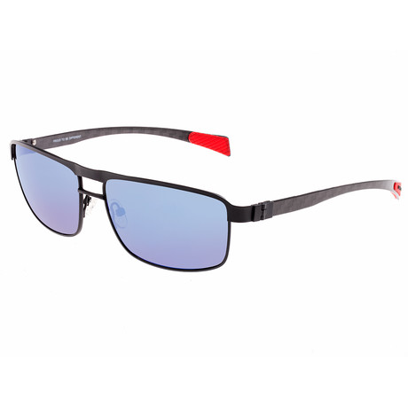 Taurus Polarized Sunglasses // Titanium (Black Frame + Blue Lens)
