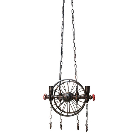 Industrial Steampunk Pipe Wheel Pendant Light