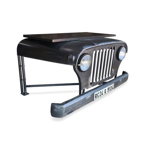 Industrial Jeep Office Desk // Working Headlights