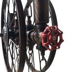 Industrial Steampunk Pipe Wheel Pendant Light