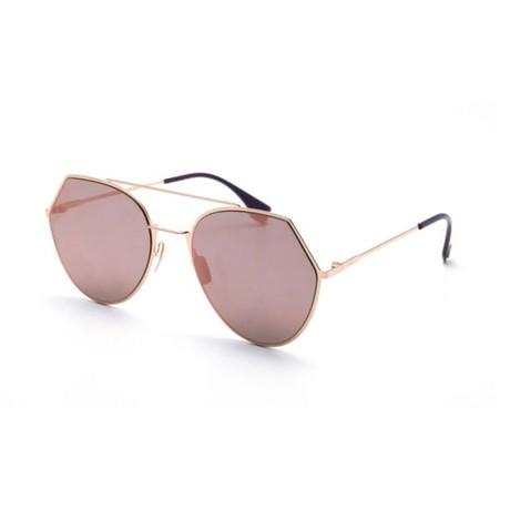 Women's Aviator Sunglasses // Gold + Gray Mirror