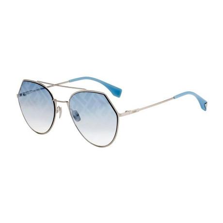 Women's Aviator Sunglasses // Gold + Blue Gradient