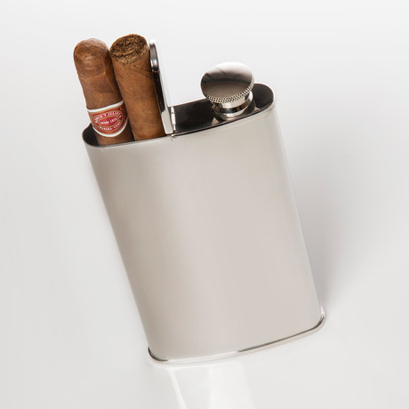 Wingman 4 oz Flask + 2-Cigar Holder