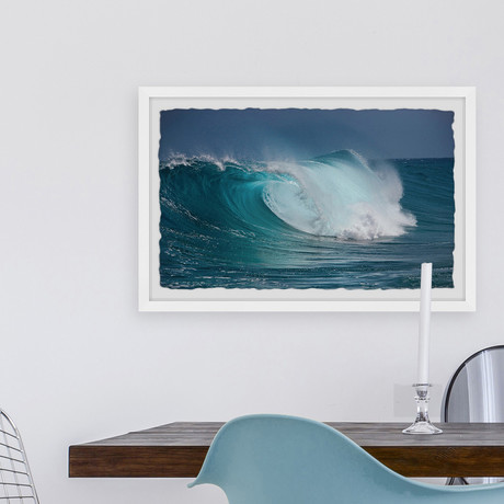 """The Barrel Wave // Framed Painting Print (12""""W x 8""""H x 1.5""""D)"""