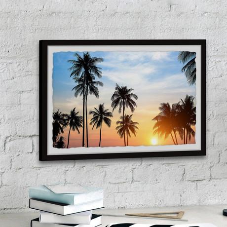 "Tropical Summer Sunset // Framed Painting Print (12""W x 8""H x 1.5""D)"