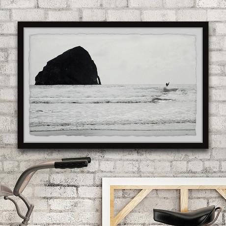 """Big Sea Rock // Framed Painting Print (12""""W x 8""""H x 1.5""""D)"""