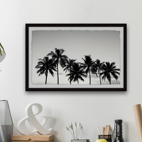 "Refreshing Palm Trees // Framed Painting Print (12""W x 8""H x 1.5""D)"