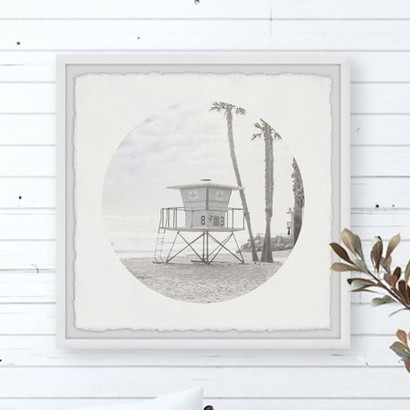 "Sand Beach Tower // Framed Painting Print (12""W x 12""H x 1.5""D)"