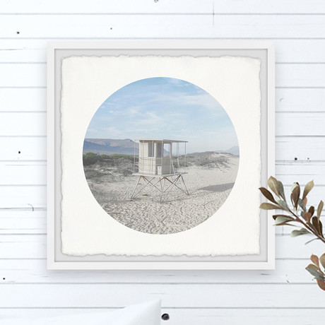 "Beach Tower // Framed Painting Print (12""W x 12""H x 1.5""D)"
