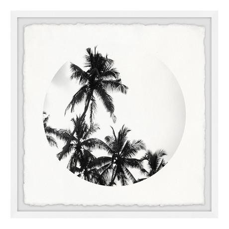 "Black Palm Leaves // Framed Painting Print (12""W x 12""H x 1.5""D)"