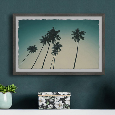 """Palm and the Blue Sky // Framed Painting Print (12""""W x 8""""H x 1.5""""D)"""