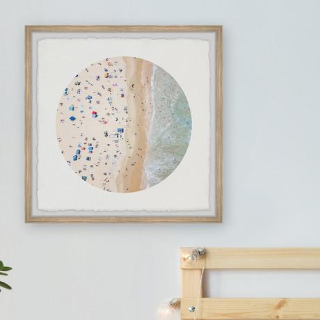 """Busy Beach // Framed Painting Print (12""""W x 12""""H x 1.5""""D)"""