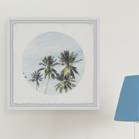 """Green Palm Leaves // Framed Painting Print (12""""W x 12""""H x 1.5""""D)"""