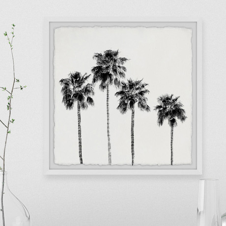 """Four Palm Trees // Framed Painting Print (12""""W x 12""""H x 1.5""""D)"""