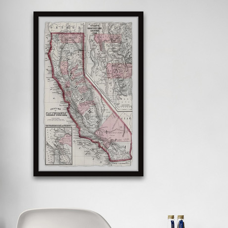 """Vintage Map of California // Framed Painting Print (8""""W x 12""""H x 1.5""""D)"""