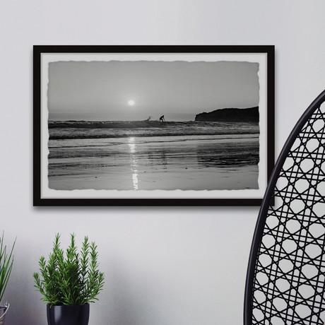 "Sunset Surf // Framed Painting Print (12""W x 8""H x 1.5""D)"