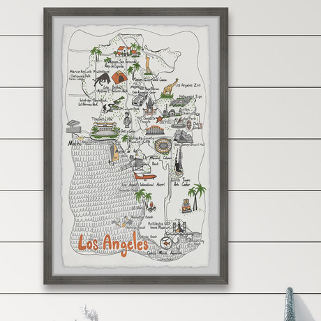 """Illustrated Map of Los Angeles IV // Framed Painting Print (8""""W x 12""""H x 1.5""""D)"""