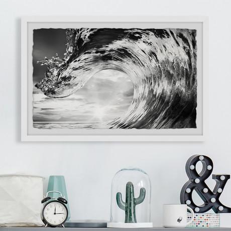 "Huge Wave // Framed Painting Print (12""W x 8""H x 1.5""D)"