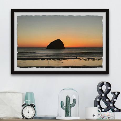 "Dawn Behind the Rock // Framed Painting Print (12""W x 8""H x 1.5""D)"