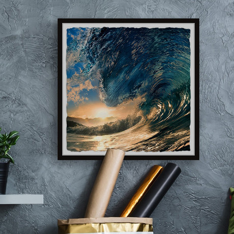 """Ocean Wave at Sunset // Framed Painting Print (12""""W x 12""""H x 1.5""""D)"""