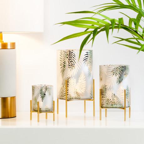 "Palm Motif Frosted Mirror // Pedestal Hurricane Vase (5.5""H)"