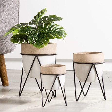 "Sedona // Ceramic Planter + Stand (7.25""H)"