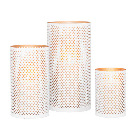 White Lattice // 3-Piece Hurricane Candle Holder Set