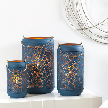Safir Medallion // 3-Piece Lantern Set (Blue)
