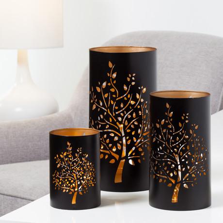 Tree // 3-Piece Hurricane Candle Holder Set