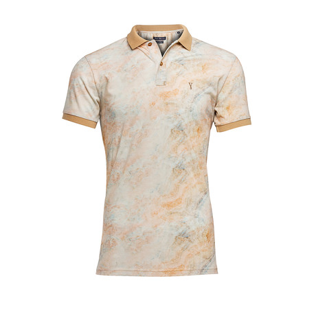 Polo Shirt + Digital Print // Beige (L)