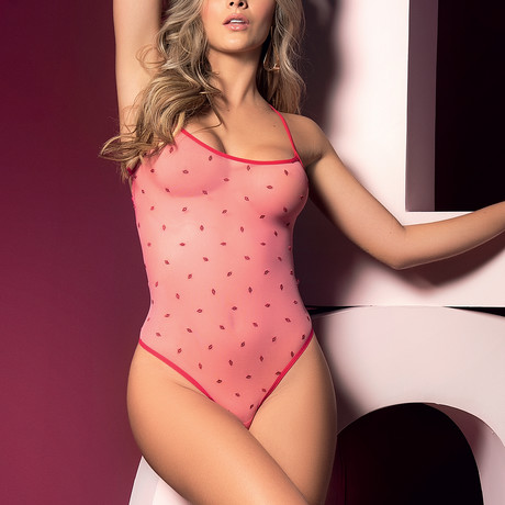 London Bodysuit // Pink + Red (S-M)