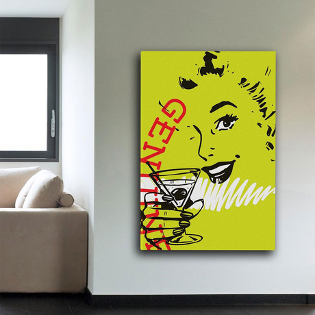 """Girl Drink 1 Print on Wrapped Canvas (12""""H x 8""""W x 1.5""""D)"""