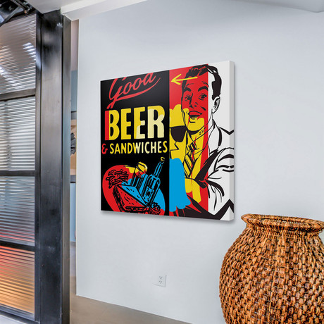 """Beer & Sandwiches Print on Wrapped Canvas (12""""H x 12""""W x 1.5""""D)"""