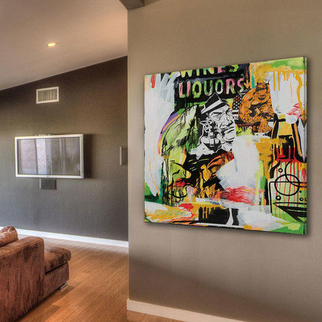 """Wines X Liquors Print on Wrapped Canvas (12""""H x 12""""W x 1.5""""D)"""