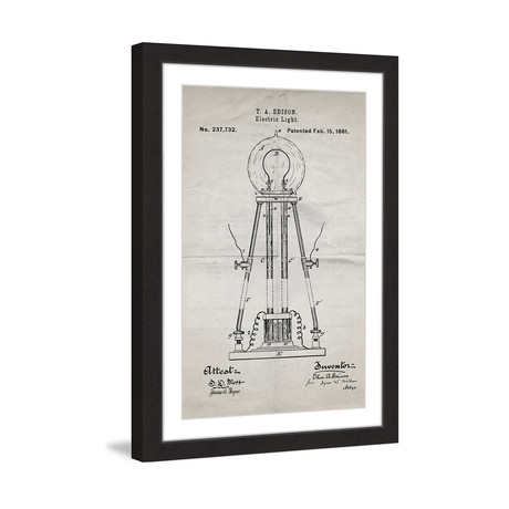 "Edison Light 1881 // Old Paper Framed Painting Print (8""W x 12""H x 1.5""D)"